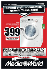 Mediaworld - Grandi elettrodomestici, grande Tasso Zero!