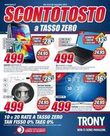 Volantino Trony - Scontotosto a tasso zero